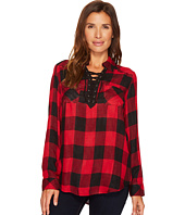 Tribal - Long Sleeve Plaid Blouse w/ Lace-Up Detail