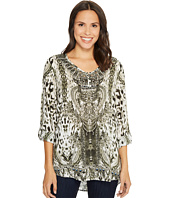 Tribal - Roll Up Sleeve Printed V-Neck Blouse w/ Beading Detail
