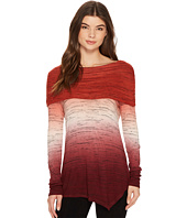 Tribal - Long Sleeve Cowl Neck Space Dye Jersey Asymmetrical Top