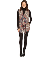 Tribal - Aztec Print Vest w/ Draped Collar