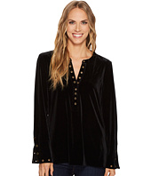 Tribal - Long Sleeve Knit Velvet Top w/ Eyelet Detail