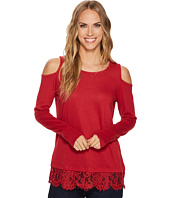 Tribal - Cold Shoulder Top w/ Lace Trim and Lace Back Detail