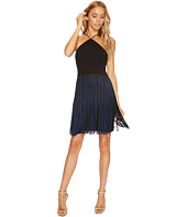 Aidan Mattox - Scuba Crepe Halter Dress with Two-Tone Fringe Skirt