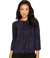Vince Camuto Specialty Size - Petite Pleated Knit Bell Sleeve Crew Neck Top