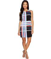 Vince Camuto Specialty Size - Petite Sleeveless Linear Graphic Panel Shift Dress