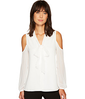 Vince Camuto - Long Sleeve Cold Shoulder Tie Neck Button Down Blouse