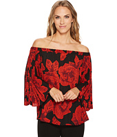 Vince Camuto - Off Shoulder Pleated Wood Block Floral Blouse