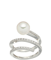 Majorica - White Round Pearl and CZ Spiral Sterling Silver Ring