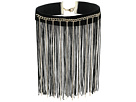 Dramatic Choker with Chain and Fabric Fringe Necklace