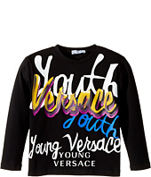 Versace Kids - Long Sleeve 'Youth' Logo Graphic T-Shirt (Toddler/Little Kids)