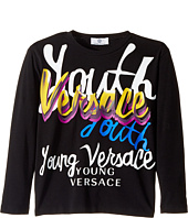 Versace Kids - Long Sleeve 'Youth' Logo Graphic T-Shirt (Big Kids)