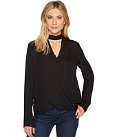 HEATHER - Jackie Silk Cross Over Peekaboo Neck Long Sleeve Top