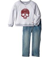 Hudson Kids - Two-Piece Reverse French Terry Pullover Indigo Kit Denim Pants (Toddler)