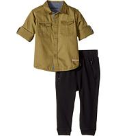 Hudson Kids - Two-Piece Woven Button Down Shirt Fleece Jogger (Infant)