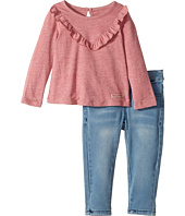Hudson Kids - Two-Piece Jersey Ruffle Top Stretch Denim Jogger (Infant)