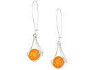 Silver Earrings with Amber Stone