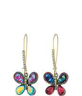 Betsey Johnson - Multicolor Butterfly Drop Earrings