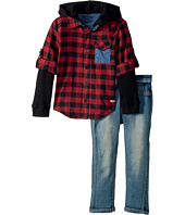 Hudson Kids - Three-Piece Woven Flannel Plaid w/ Mock Thermal and Stretch Denim Pants (Toddler)