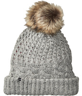 Plush - Fleece-Lined Chunky Knit Hat with Faux Fur Pom Pom