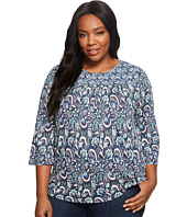 Lucky Brand - Plus Size Mixed Print Smocked Top