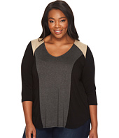 Karen Kane Plus - Plus Size Faux Suede Yoke Color Block Top
