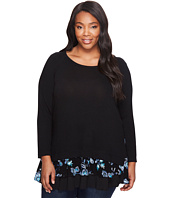 Karen Kane Plus - Plus Size Embroidered Inset Sweater