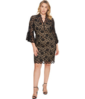 Karen Kane Plus - Plus Size Flare Sleeve Lace Dress