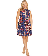 Adrianna Papell - Plus Size Spliced Floral Print Jersey Dress
