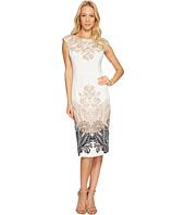 London Times - Lacey Scroll Cap Sleeve Sheath Dress