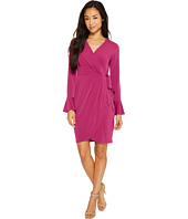 London Times - Petite Solid MJ Bell Sleeve Wrap Dress