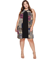 London Times - Plus Size Jungle Patch Fly Away Shift Dress