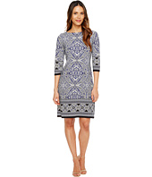 London Times - 3/4 Sleeve Printed Shift Dress