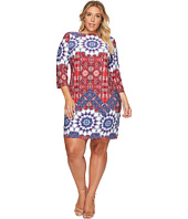 London Times - Plus Size Imperial Tile 3/4 Sleeve Shift Dress