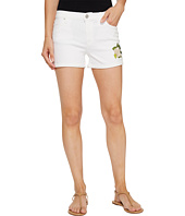 Hudson - Asha Mid-Rise Cuffed Shorts in Embroidery Floral White