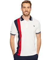 U.S. POLO ASSN. - Slim Fit Color Block Short Sleeve Poly Pique Polo Shirt