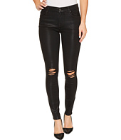 7 For All Mankind - The Ankle Skinny w/ Destroy in Black Coated Fashion 3