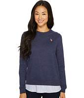 U.S. POLO ASSN. - Twofer French Terry and Striped Woven Top