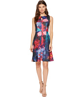 Ellen Tracy - Floral Print Fit and Flare Scuba Dress