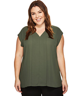 Vince Camuto Specialty Size - Plus Size Sleeveless Mix Media V-Neck Blouse