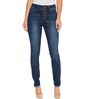 Jag Jeans - Gwen Skinny High-Rise Jeans in Crosshatch Denim in Thorne Blue