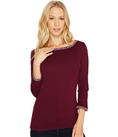 Three Dots - Tweed Knit Ballerina Neck 3/4