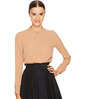 Jil Sander Navy - Silk Mandarin Collar Long Sleeve Shirt
