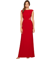 Adrianna Papell - Cap Sleeve Long Gown with Lace Illusion Waist Detail