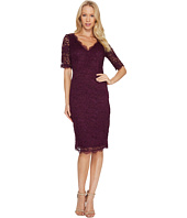 Adrianna Papell - 3/4 Sleeve Lace Cocktail Dress with Scalloped V-Neck