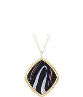 Michael Kors - Fashion Long Necklace with Single Black Agate and Mother-of-Pearl Pendant