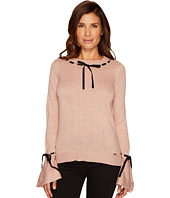 Ivanka Trump - Crew Neck with Velvet Trim Sweater
