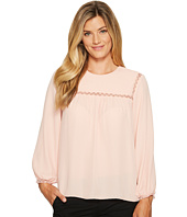 Ivanka Trump - Georgette Long Sleeve Lace Trim Blouse