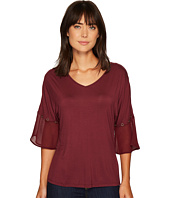 Ivanka Trump - Knit V-Neck with Woven Bell Sleeve