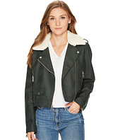 Levi's® - Asymmetrical Banded Bottom Moto with Sherpa Collar
