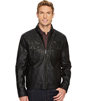 Kenneth Cole New York - Zip Front PU Jacket with Zipper Stand Collar Detail